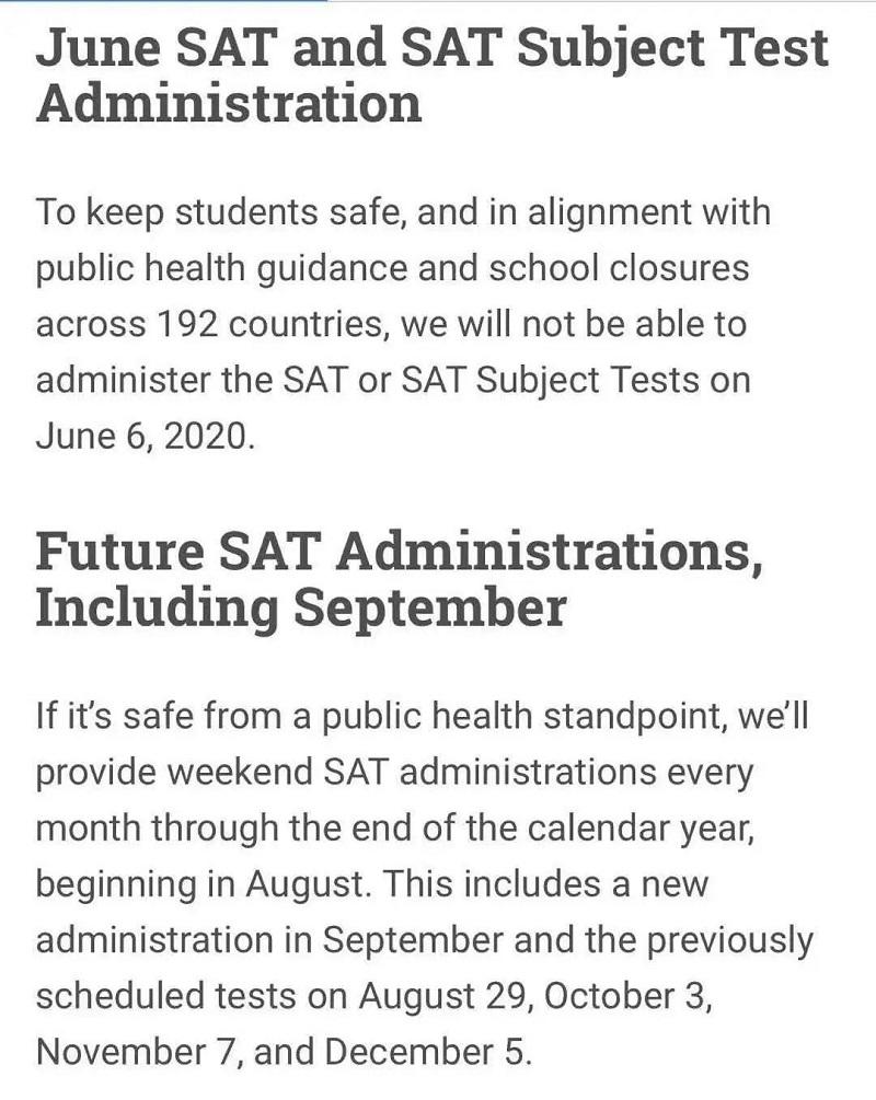 六月全球SAT考试取消官方信息